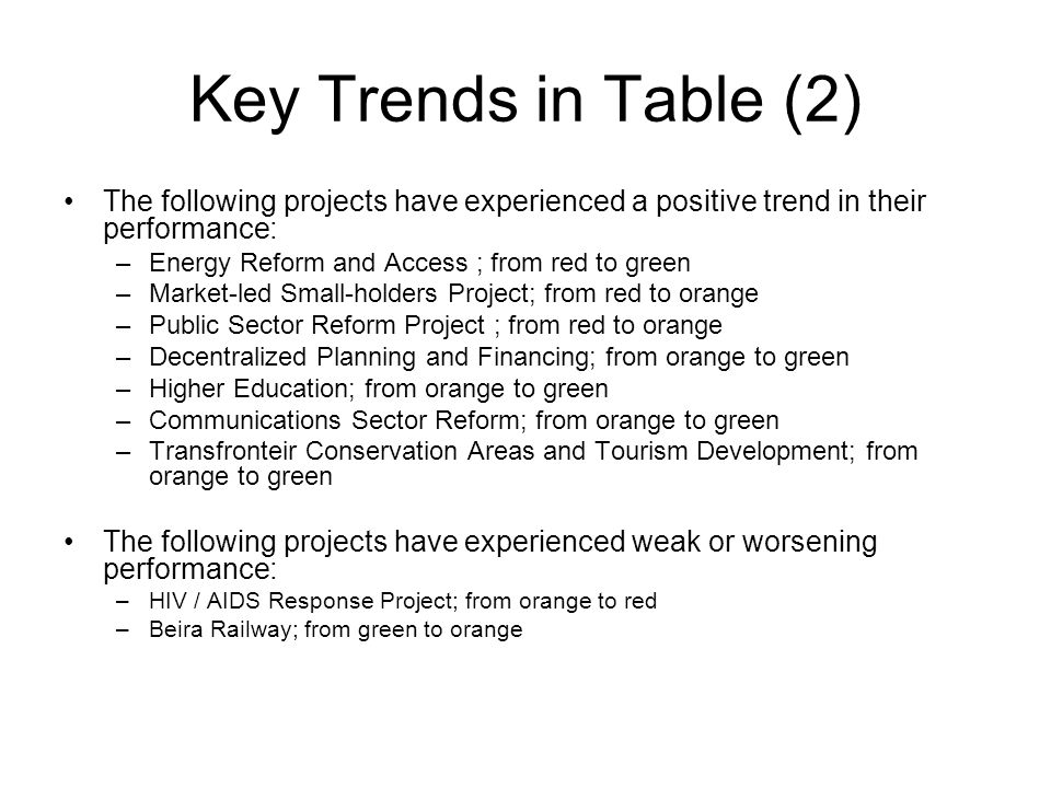 Key Trends in Table (2) The following projects have experienced a positive trend in their performance: –Energy Reform and Access ; from red to green –Market-led Small-holders Project; from red to orange –Public Sector Reform Project ; from red to orange –Decentralized Planning and Financing; from orange to green –Higher Education; from orange to green –Communications Sector Reform; from orange to green –Transfronteir Conservation Areas and Tourism Development; from orange to green The following projects have experienced weak or worsening performance: –HIV / AIDS Response Project; from orange to red –Beira Railway; from green to orange