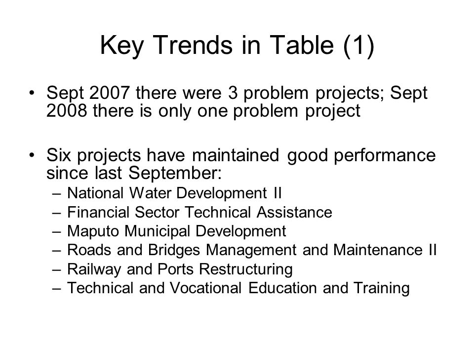 Key Trends in Table (1) Sept 2007 there were 3 problem projects; Sept 2008 there is only one problem project Six projects have maintained good performance since last September: –National Water Development II –Financial Sector Technical Assistance –Maputo Municipal Development –Roads and Bridges Management and Maintenance II –Railway and Ports Restructuring –Technical and Vocational Education and Training