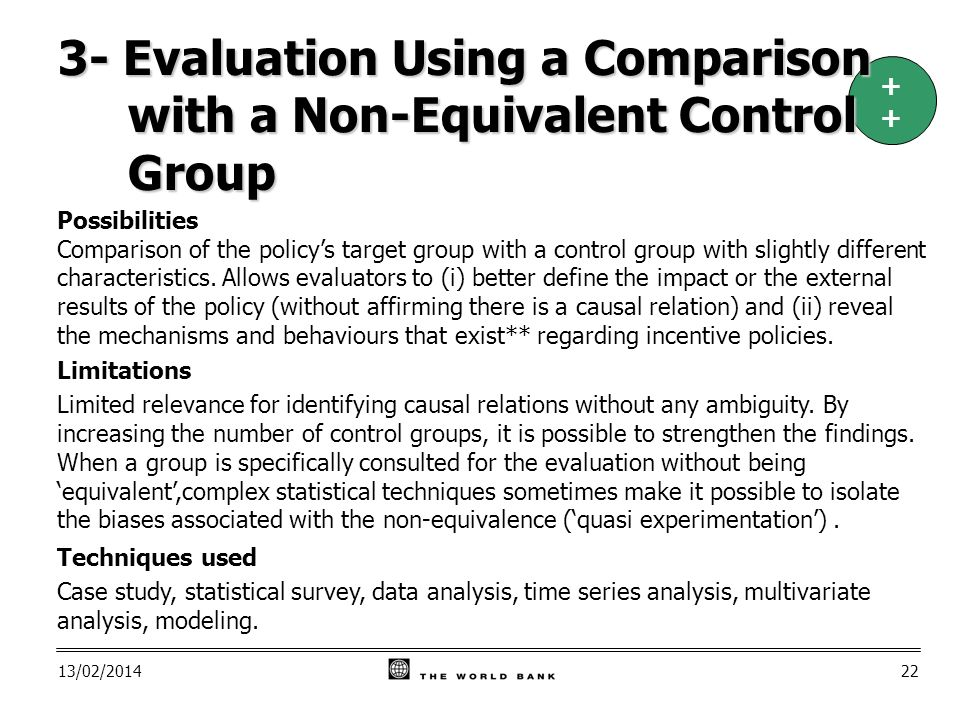 13/02/ Possibilities Comparison of the policys target group with a control group with slightly different characteristics.