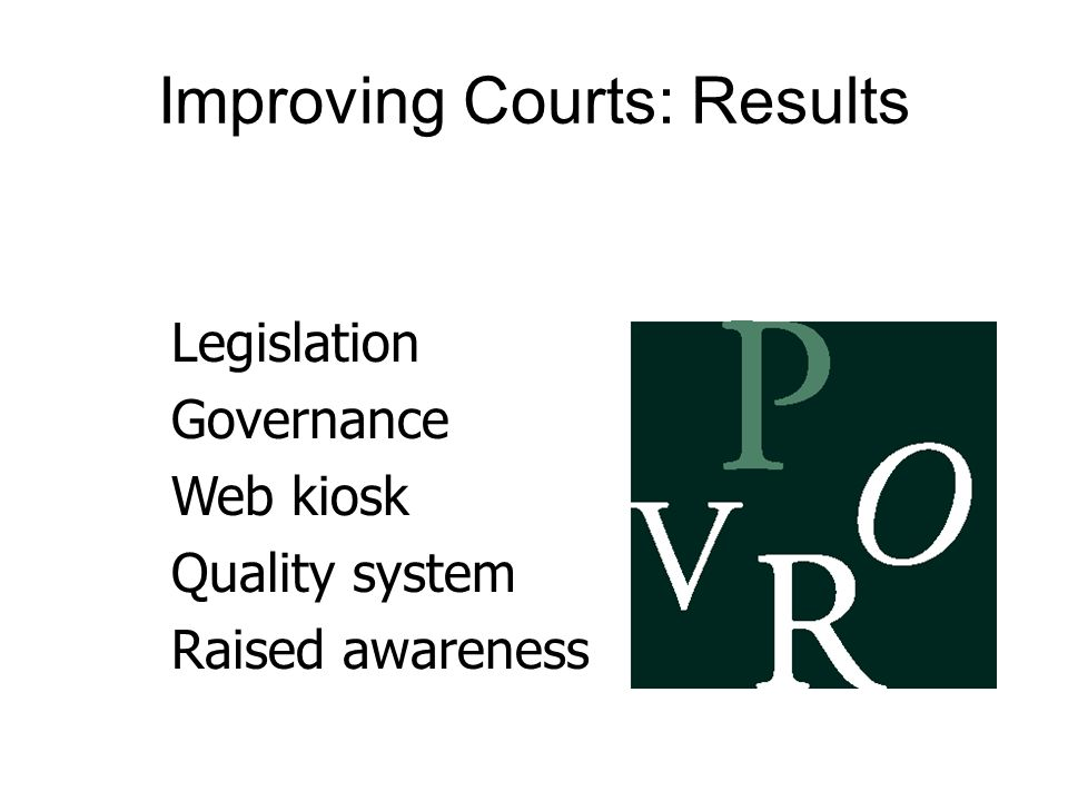 Improving Courts: Results Legislation Governance Web kiosk Quality system Raised awareness