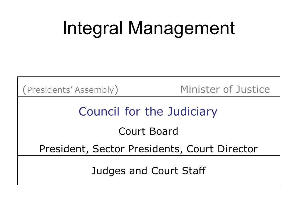 Integral Management Judges and Court Staff Court Board President, Sector Presidents, Court Director Minister of Justice( Presidents Assembly ) Council for the Judiciary