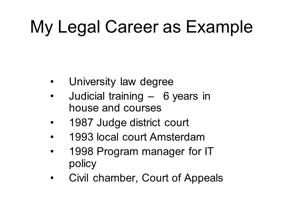 University law degree Judicial training – 6 years in house and courses 1987 Judge district court 1993 local court Amsterdam 1998 Program manager for IT policy Civil chamber, Court of Appeals My Legal Career as Example
