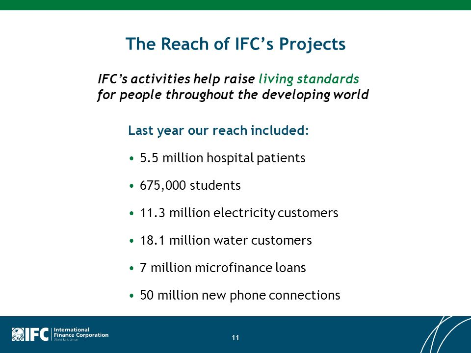 11 The Reach of IFCs Projects Last year our reach included: 5.5 million hospital patients 675,000 students 11.3 million electricity customers 18.1 million water customers 7 million microfinance loans 50 million new phone connections IFCs activities help raise living standards for people throughout the developing world