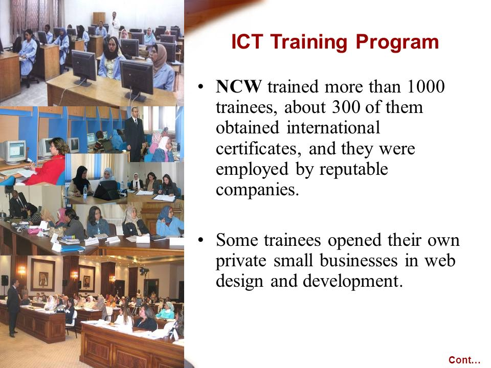 NCW trained more than 1000 trainees, about 300 of them obtained international certificates, and they were employed by reputable companies.