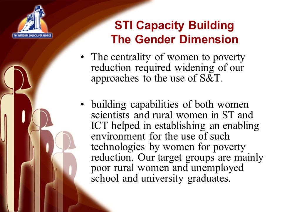 The centrality of women to poverty reduction required widening of our approaches to the use of S&T.
