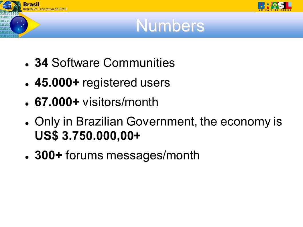 Numbers 34 Software Communities 45.000+ registered users 67.000+ visitors/month Only in Brazilian Government, the economy is US$ 3.750.000,00+ 300+ forums messages/month