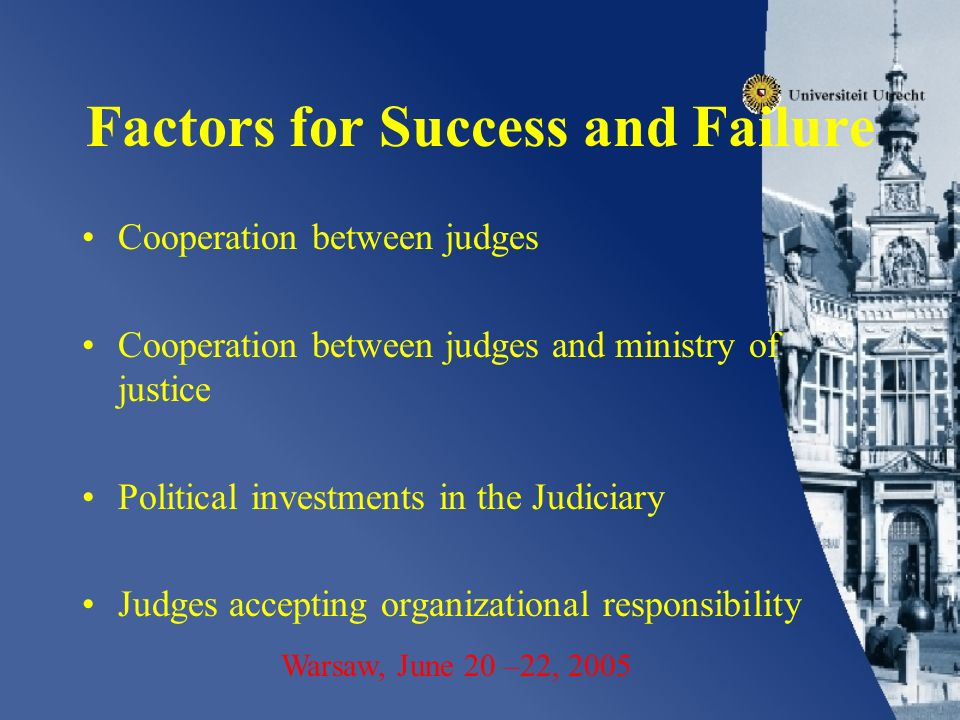 Factors for Success and Failure Cooperation between judges Cooperation between judges and ministry of justice Political investments in the Judiciary Judges accepting organizational responsibility Warsaw, June 20 –22, 2005