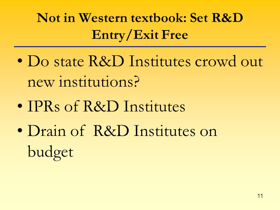 11 Not in Western textbook: Set R&D Entry/Exit Free Do state R&D Institutes crowd out new institutions.