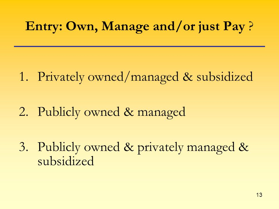 13 Entry: Own, Manage and/or just Pay .