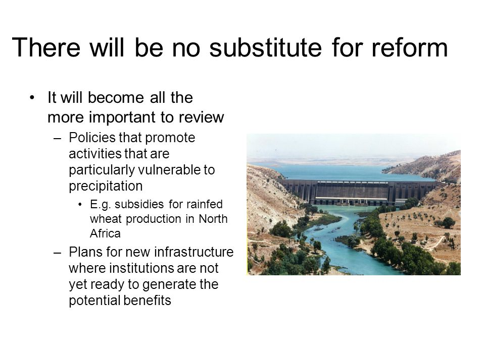 There will be no substitute for reform It will become all the more important to review –Policies that promote activities that are particularly vulnerable to precipitation E.g.