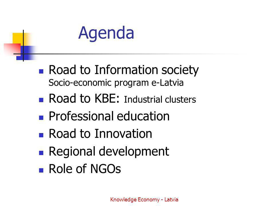 Knowledge Economy - Latvia Agenda Road to Information society Socio-economic program e-Latvia Road to KBE: Industrial clusters Professional education Road to Innovation Regional development Role of NGOs