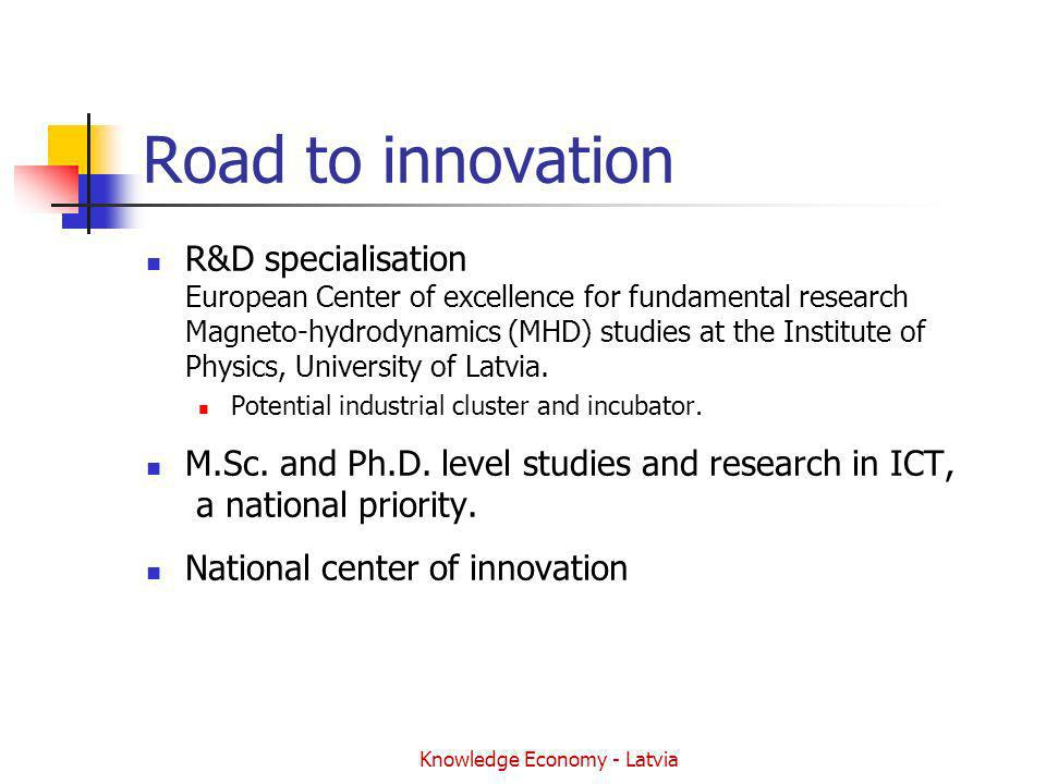 Knowledge Economy - Latvia Road to innovation R&D specialisation European Center of excellence for fundamental research Magneto-hydrodynamics (MHD) studies at the Institute of Physics, University of Latvia.