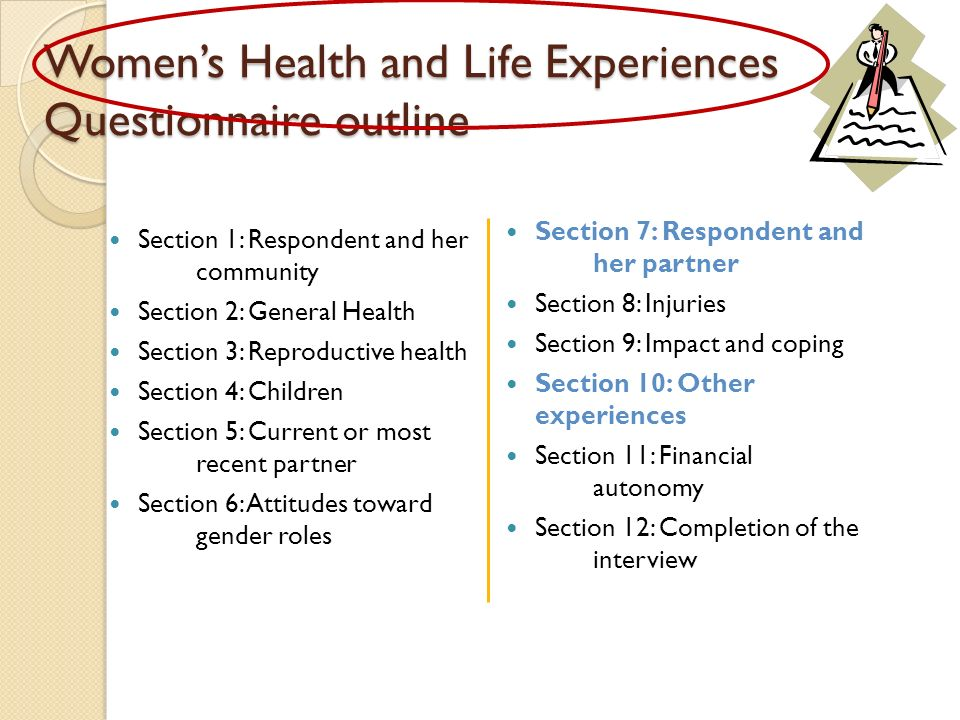Womens Health and Life Experiences Questionnaire outline Section 1: Respondent and her community Section 2: General Health Section 3: Reproductive health Section 4: Children Section 5: Current or most recent partner Section 6: Attitudes toward gender roles Section 7: Respondent and her partner Section 8: Injuries Section 9: Impact and coping Section 10: Other experiences Section 11: Financial autonomy Section 12: Completion of the interview