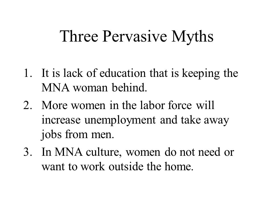 Three Pervasive Myths 1.It is lack of education that is keeping the MNA woman behind.