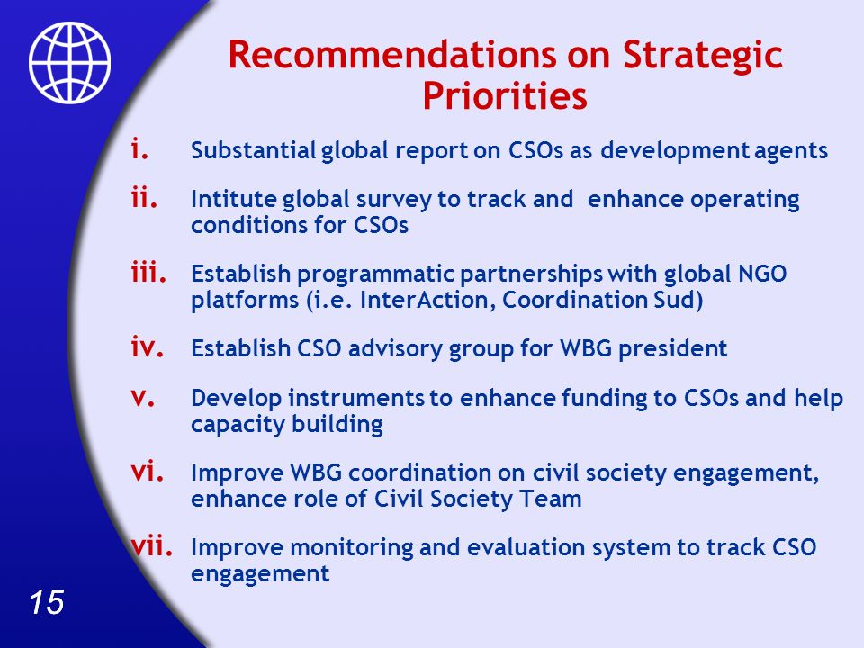 15 Recommendations on Strategic Priorities i.