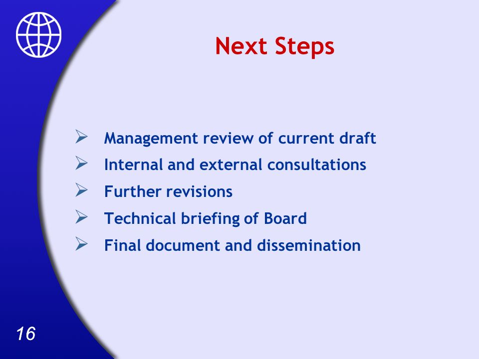 16 Next Steps Management review of current draft Internal and external consultations Further revisions Technical briefing of Board Final document and dissemination