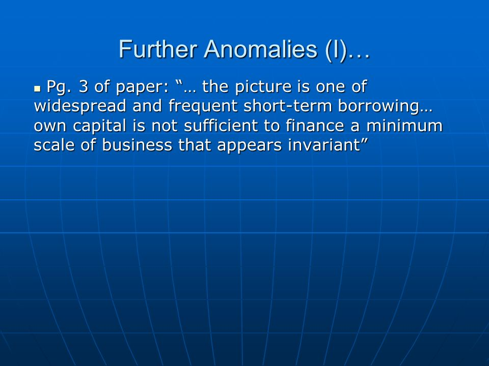 Further Anomalies (I)… Pg.
