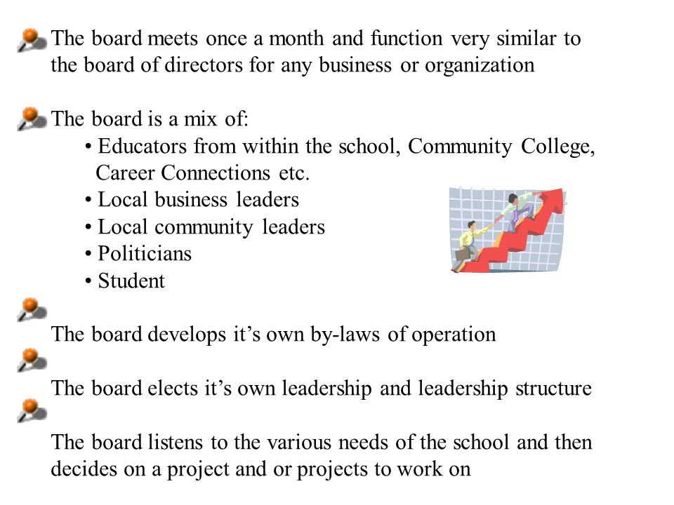The board meets once a month and function very similar to the board of directors for any business or organization The board is a mix of: Educators from within the school, Community College, Career Connections etc.