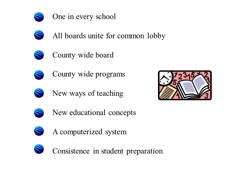 One in every school All boards unite for common lobby County wide board County wide programs New ways of teaching New educational concepts A computerized system Consistence in student preparation