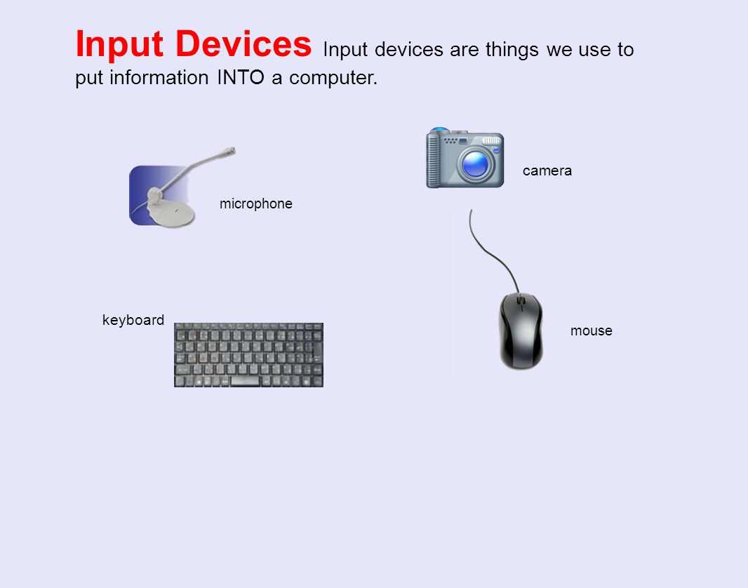 Input Devices Input devices are things we use to put information INTO a computer.