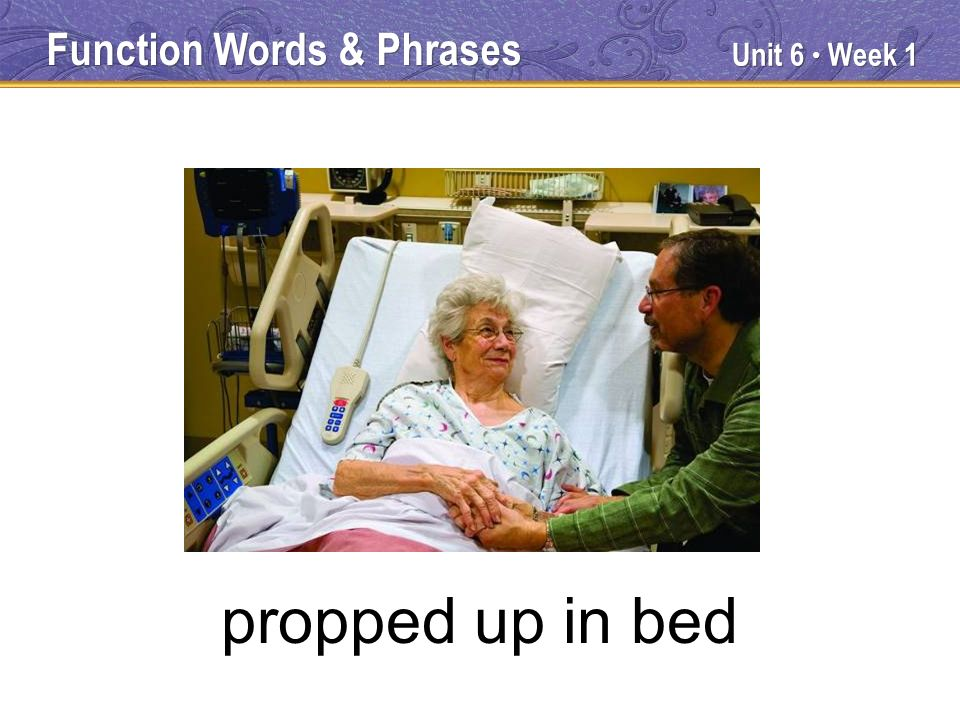 Unit 6 Week 1 propped up in bed Function Words & Phrases