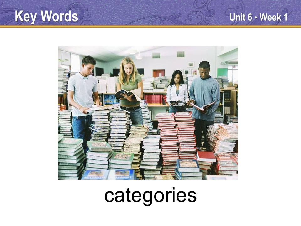 Unit 6 Week 1 categories Key Words