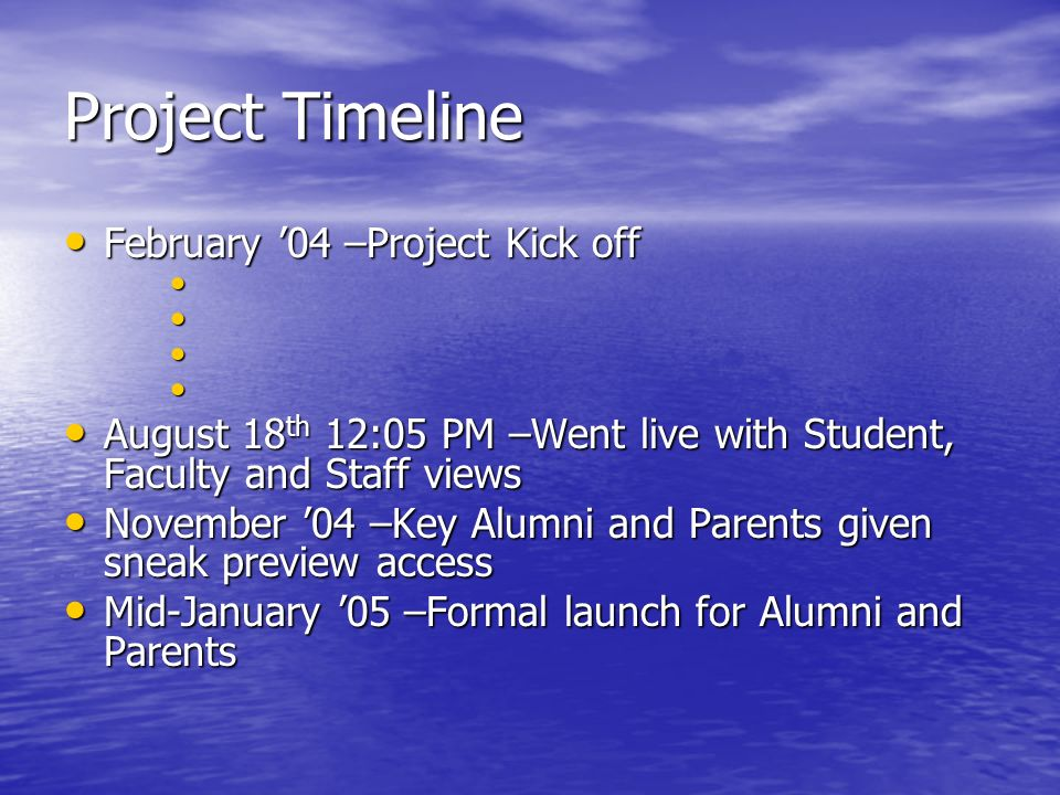 Project Timeline February 04 –Project Kick off February 04 –Project Kick off August 18 th 12:05 PM –Went live with Student, Faculty and Staff views August 18 th 12:05 PM –Went live with Student, Faculty and Staff views November 04 –Key Alumni and Parents given sneak preview access November 04 –Key Alumni and Parents given sneak preview access Mid-January 05 –Formal launch for Alumni and Parents Mid-January 05 –Formal launch for Alumni and Parents