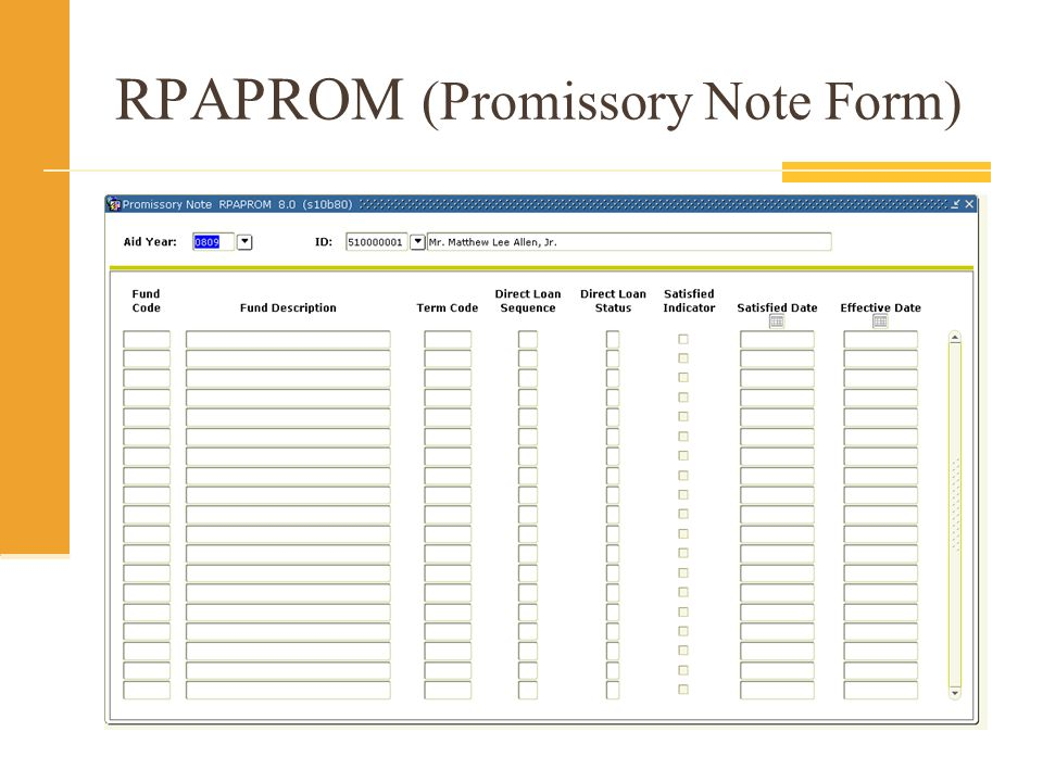 RPAPROM (Promissory Note Form)