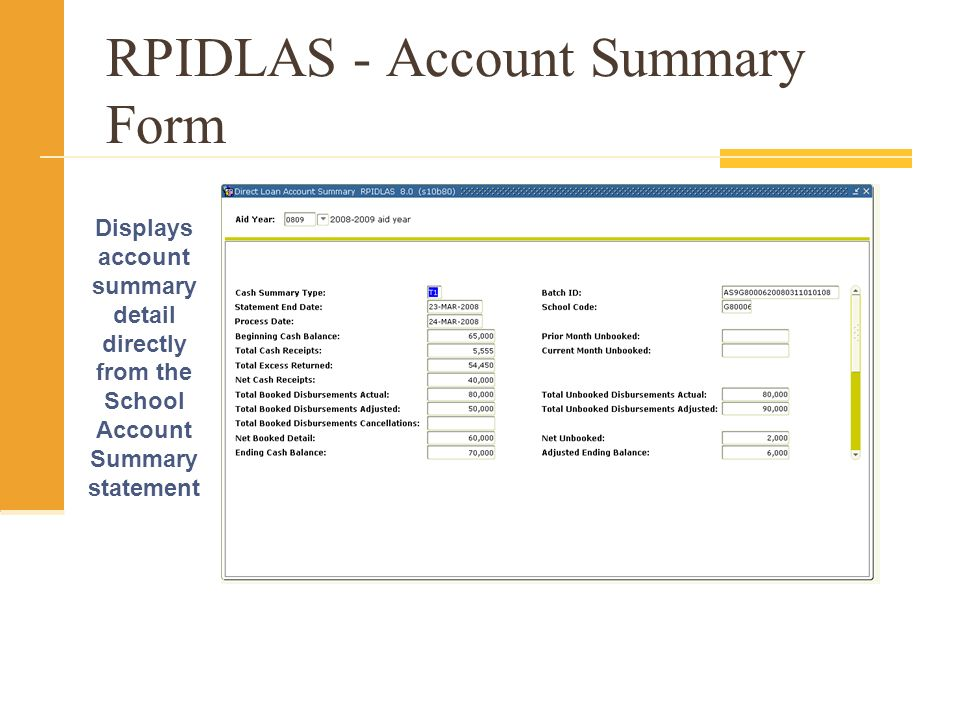 RPIDLAS - Account Summary Form Displays account summary detail directly from the School Account Summary statement