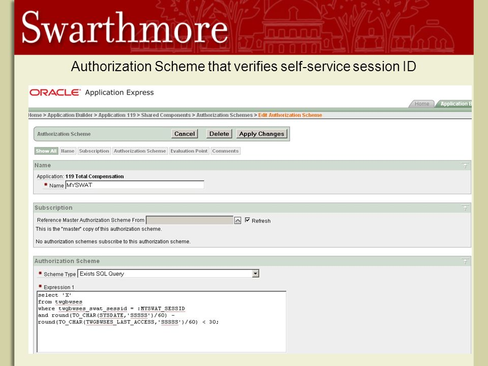 Authorization Scheme that verifies self-service session ID