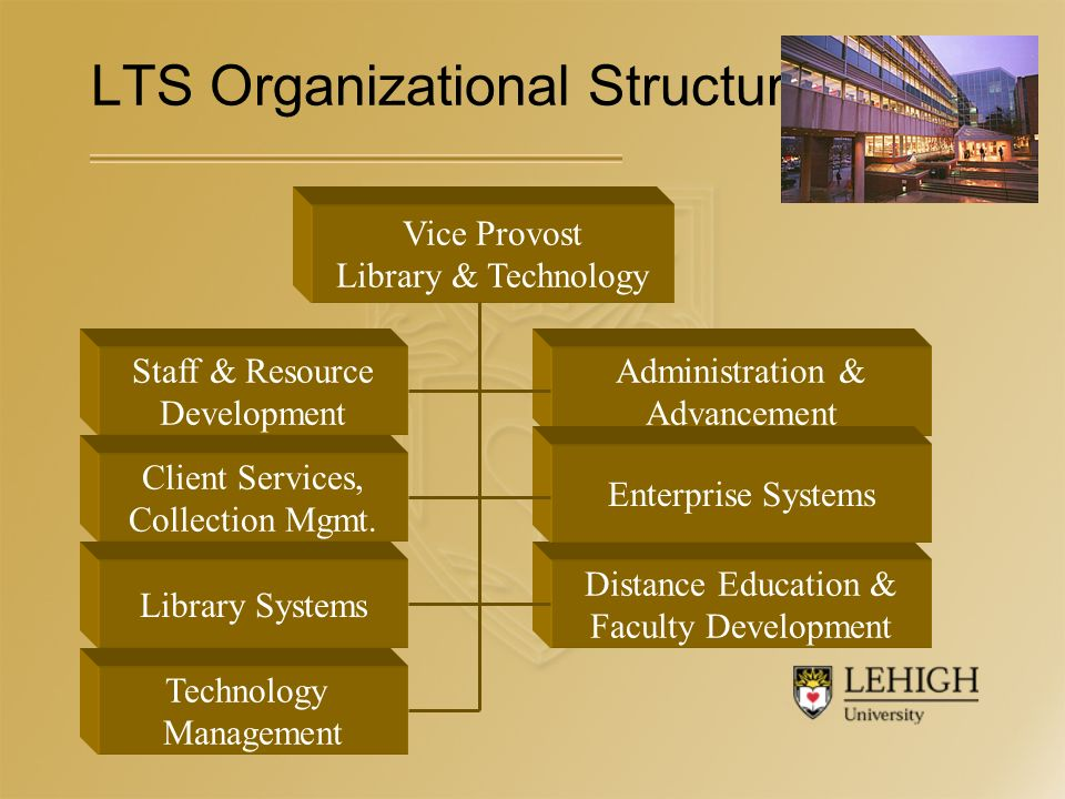 LTS Organizational Structure Vice Provost Library & Technology Staff & Resource Development Client Services, Collection Mgmt.