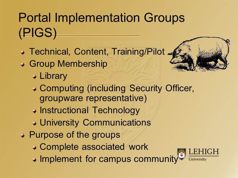 Portal Implementation Groups (PIGS) Technical, Content, Training/Pilot Group Membership Library Computing (including Security Officer, groupware representative) Instructional Technology University Communications Purpose of the groups Complete associated work Implement for campus community