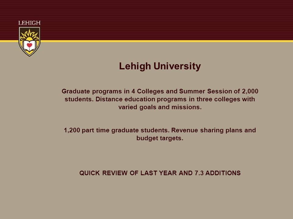 Lehigh University Graduate programs in 4 Colleges and Summer Session of 2,000 students.