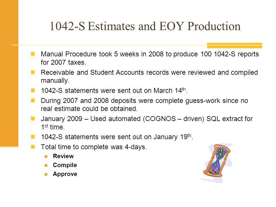 1042-S Estimates and EOY Production Required to be Filed at Year-End Must make periodic estimates/deposits to avoid penalties Non-Resident Aliens Unqualified Scholarships and Grants Prizes Awards Need to Query Accounts Payable Student Accounts