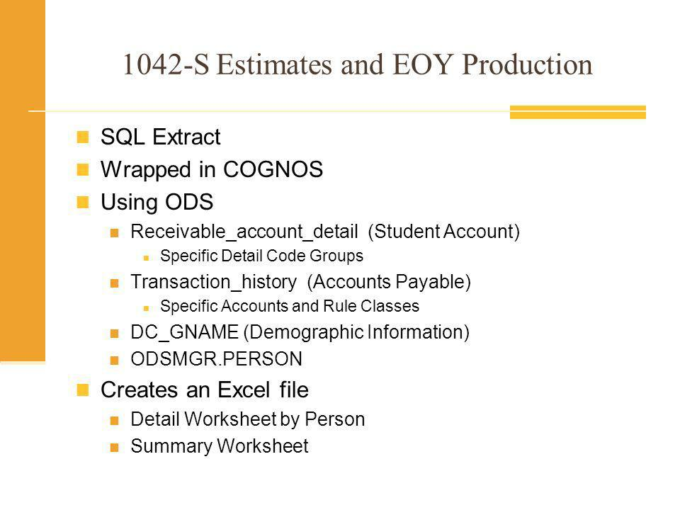 1042-S Estimates and EOY Production During 2009 Prepared Estimate using this system every 2 months – completed in 4 Hours.