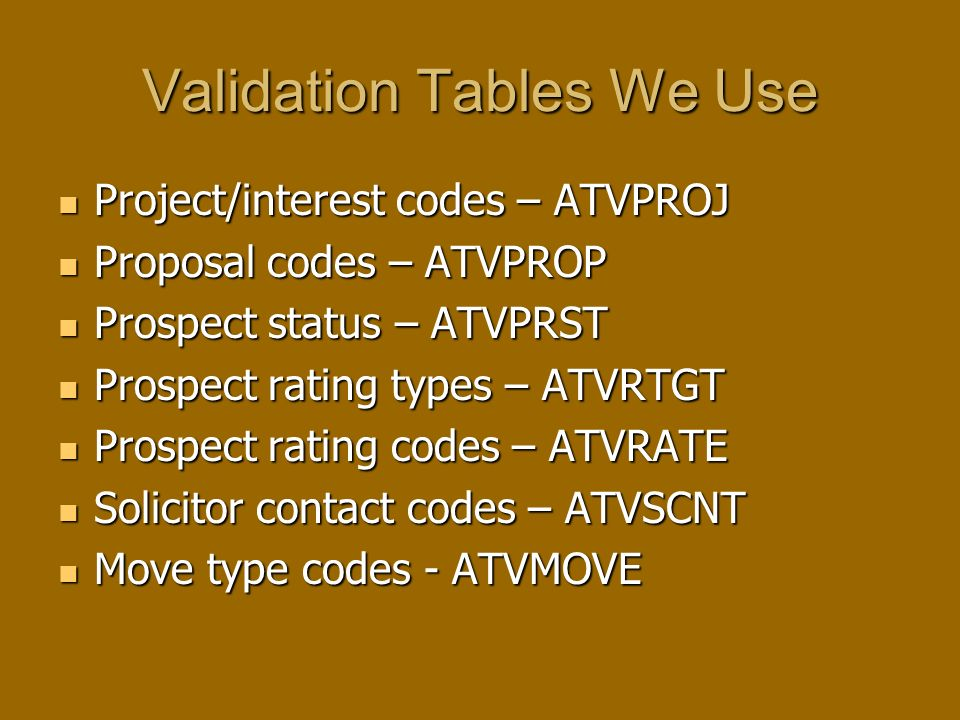 Validation Tables We Use Project/interest codes – ATVPROJ Project/interest codes – ATVPROJ Proposal codes – ATVPROP Proposal codes – ATVPROP Prospect status – ATVPRST Prospect status – ATVPRST Prospect rating types – ATVRTGT Prospect rating types – ATVRTGT Prospect rating codes – ATVRATE Prospect rating codes – ATVRATE Solicitor contact codes – ATVSCNT Solicitor contact codes – ATVSCNT Move type codes - ATVMOVE Move type codes - ATVMOVE