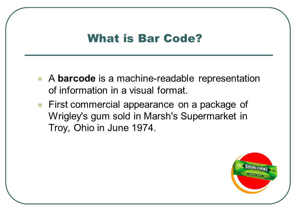 A barcode is a machine-readable representation of information in a visual format.
