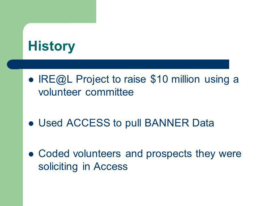 History IRE@L Project to raise $10 million using a volunteer committee Used ACCESS to pull BANNER Data Coded volunteers and prospects they were soliciting in Access