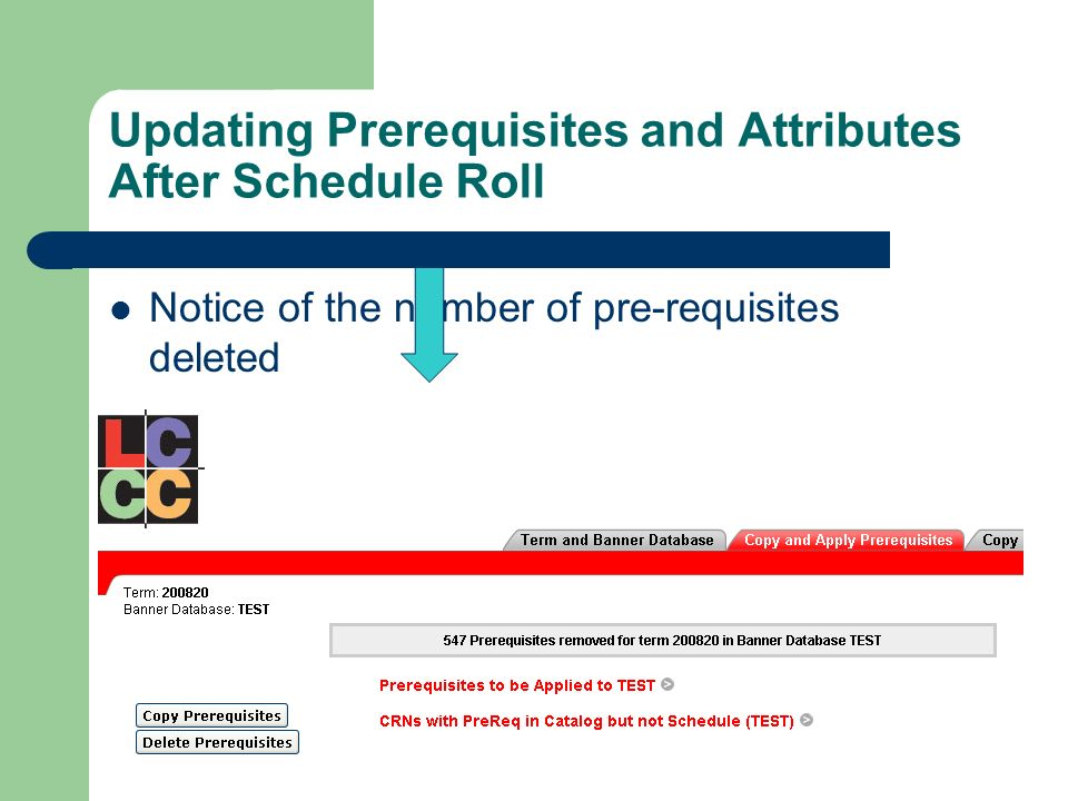 Updating Prerequisites and Attributes After Schedule Roll Notice of the number of pre-requisites deleted