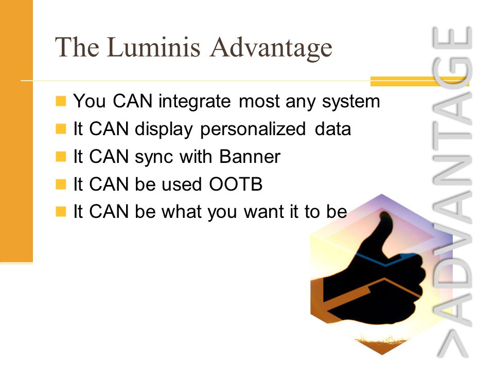 The Luminis Advantage You CAN integrate most any system It CAN display personalized data It CAN sync with Banner It CAN be used OOTB It CAN be what you want it to be
