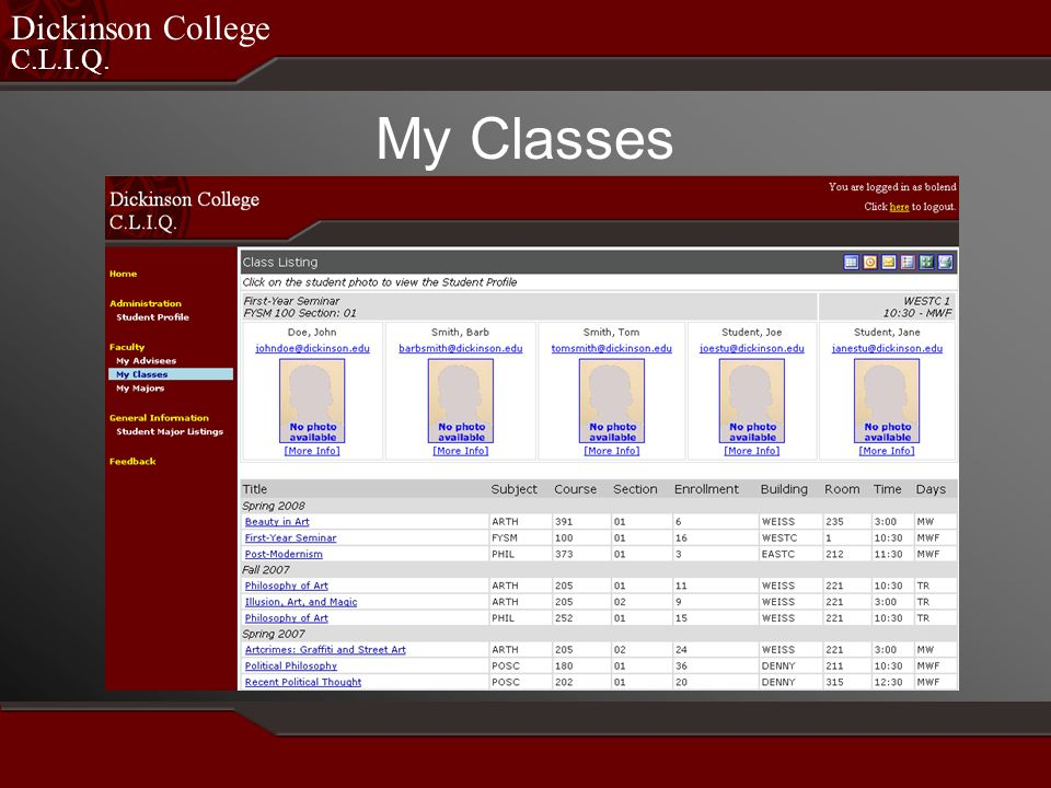 C.L.I.Q. Dickinson College My Classes