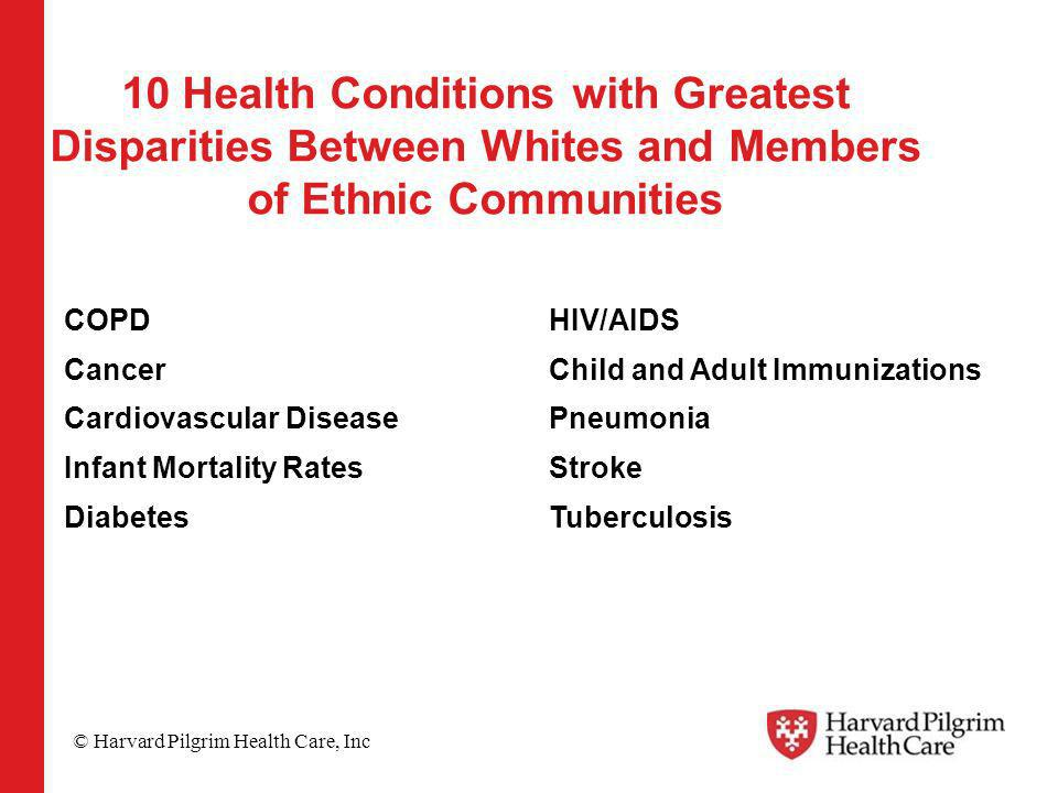 © Harvard Pilgrim Health Care, Inc 10 Health Conditions with Greatest Disparities Between Whites and Members of Ethnic Communities COPD Cancer Cardiovascular Disease Infant Mortality Rates Diabetes HIV/AIDS Child and Adult Immunizations Pneumonia Stroke Tuberculosis