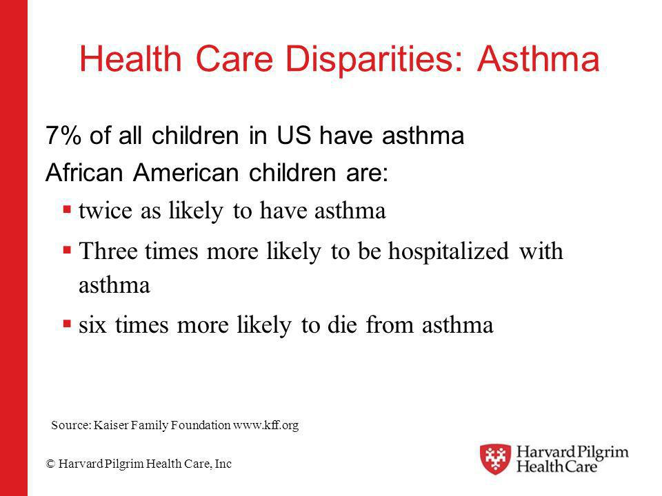 © Harvard Pilgrim Health Care, Inc Health Care Disparities: Asthma 7% of all children in US have asthma African American children are: twice as likely to have asthma Three times more likely to be hospitalized with asthma six times more likely to die from asthma Source: Kaiser Family Foundation www.kff.org