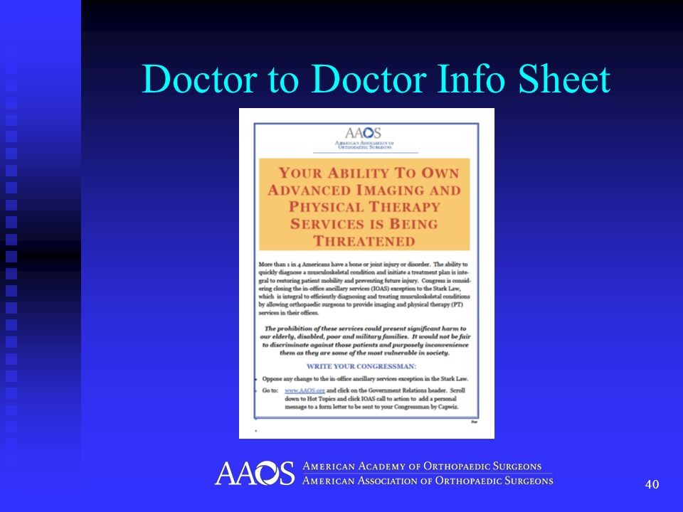 Doctor to Doctor Info Sheet 40
