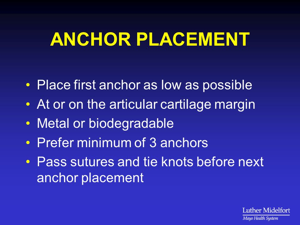 ANCHOR PLACEMENT Place first anchor as low as possible At or on the articular cartilage margin Metal or biodegradable Prefer minimum of 3 anchors Pass sutures and tie knots before next anchor placement