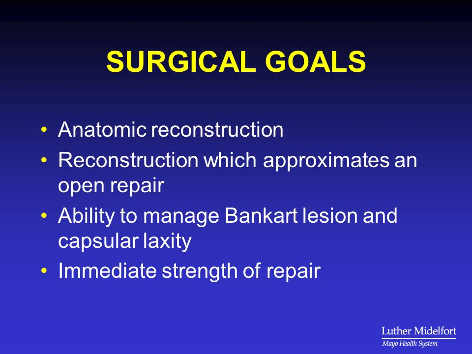 SURGICAL GOALS Anatomic reconstruction Reconstruction which approximates an open repair Ability to manage Bankart lesion and capsular laxity Immediate strength of repair