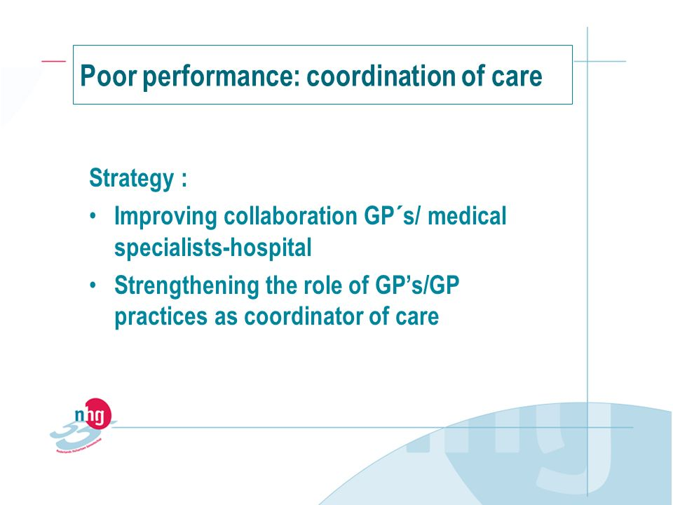 Strategy : Improving collaboration GP´s/ medical specialists-hospital Strengthening the role of GPs/GP practices as coordinator of care