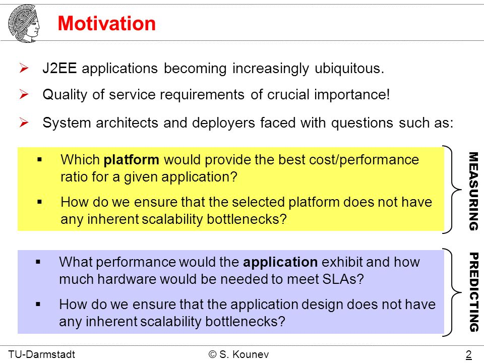 Motivation MEASURING PREDICTING What performance would the application exhibit and how much hardware would be needed to meet SLAs.