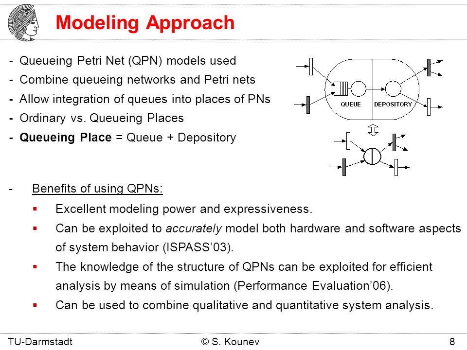 Modeling Approach - Queueing Petri Net (QPN) models used - Combine queueing networks and Petri nets - Allow integration of queues into places of PNs - Ordinary vs.