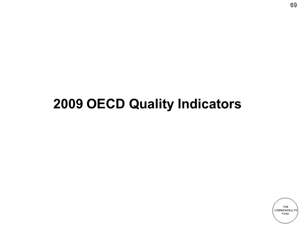 THE COMMONWEALTH FUND 69 2009 OECD Quality Indicators